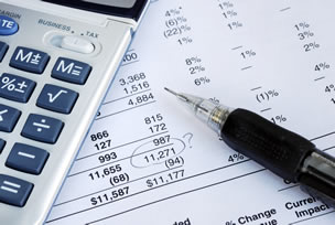 Financial statements with calculator